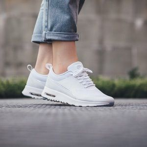 Nike White Air Max Thea Mesh and Leather Sneaker